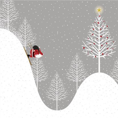 le père noel sur des skis